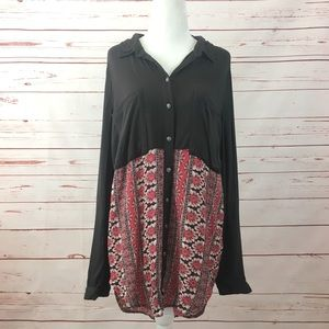 Free People Black Red Floral Button Up Shirt